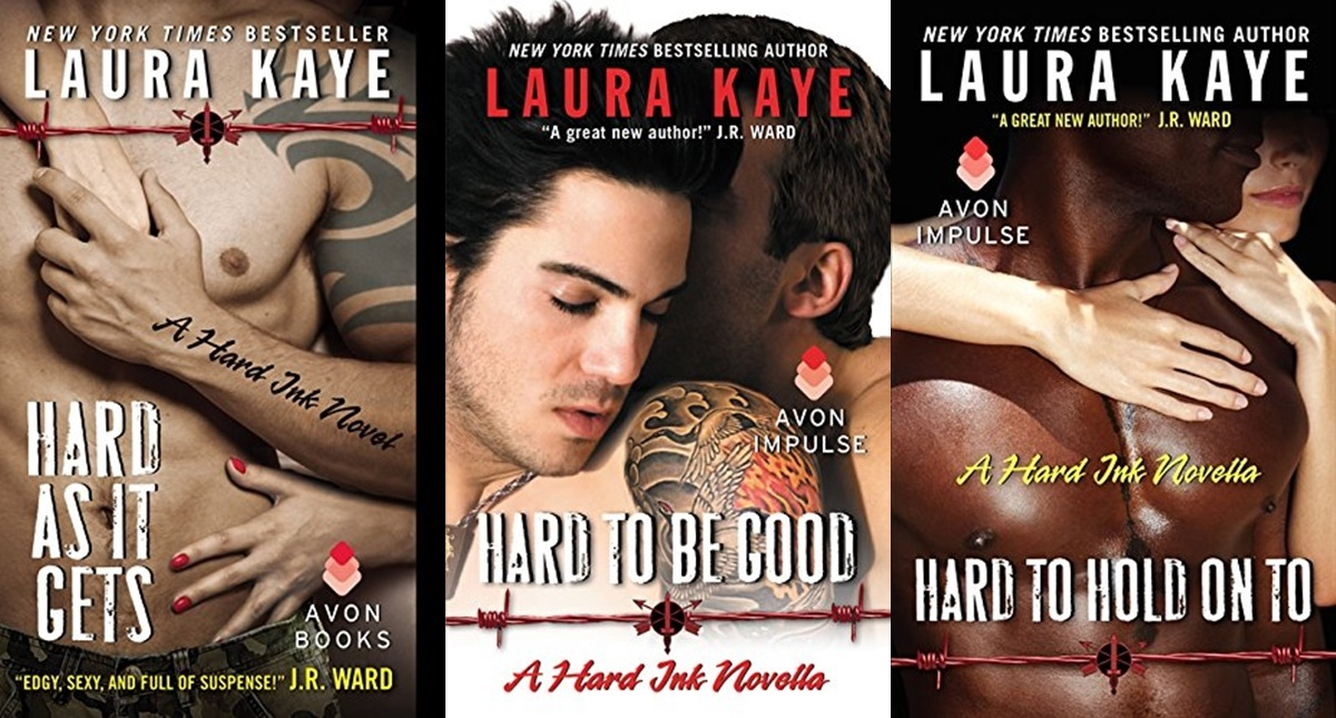 Romance Book Series, three book covers from the Hard Ink series by Laura Kaye, books