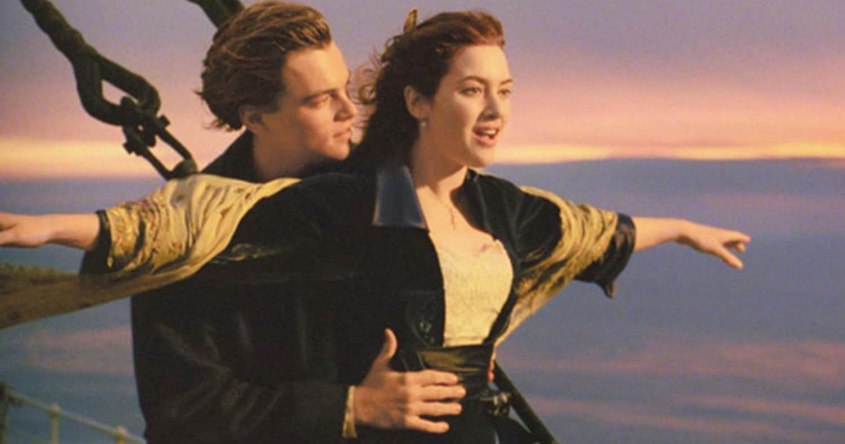Jack and Rose on the bow of the Titanic