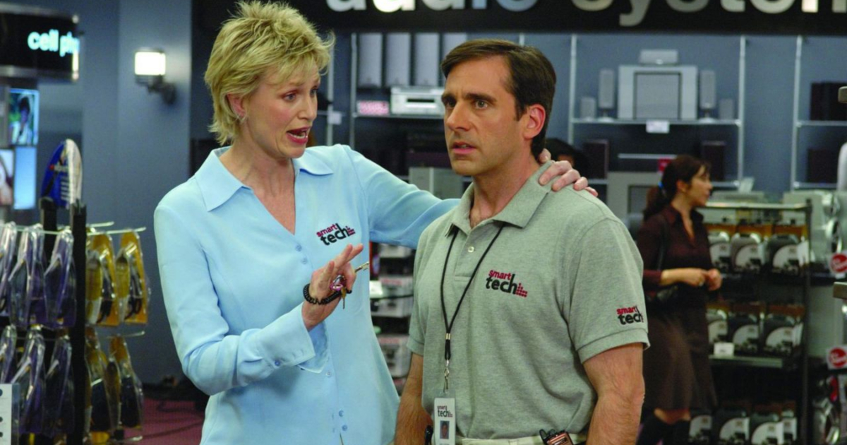 Jane Lynch giving Steve Carell a pep talk in 'The 40-Year-Old Virgin'