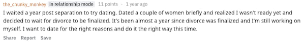 Reddit user the_chunky_monkey sharing how soon after a divorce they waited to start dating again