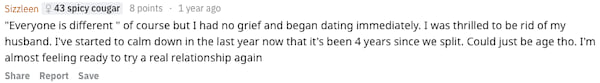 Reddit user Sizzleen revealing how soon after a divorce she started dating