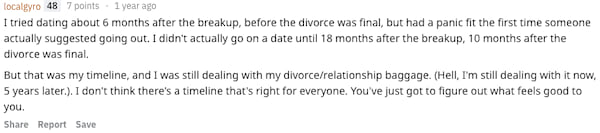 Reddit user localgyro revealing how soon after their divorce they started dating again