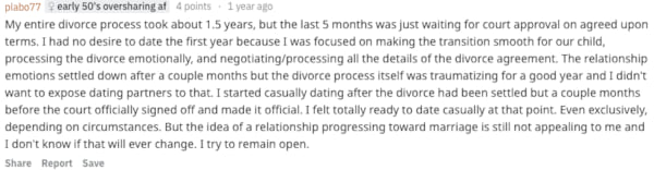 Reddit user plabo77 sharing how soon after a divorce they started dating again