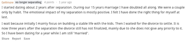 Reddit user Gettmore revealing how soon after their divorce they started dating
