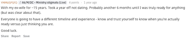 Reddit user YMMVSPSFD revealing how soon after their divorce they started dating