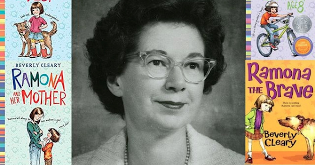 beverly cleary portrait with book border