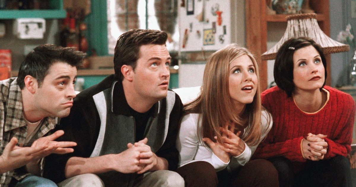 friends characters sitting faces in awe