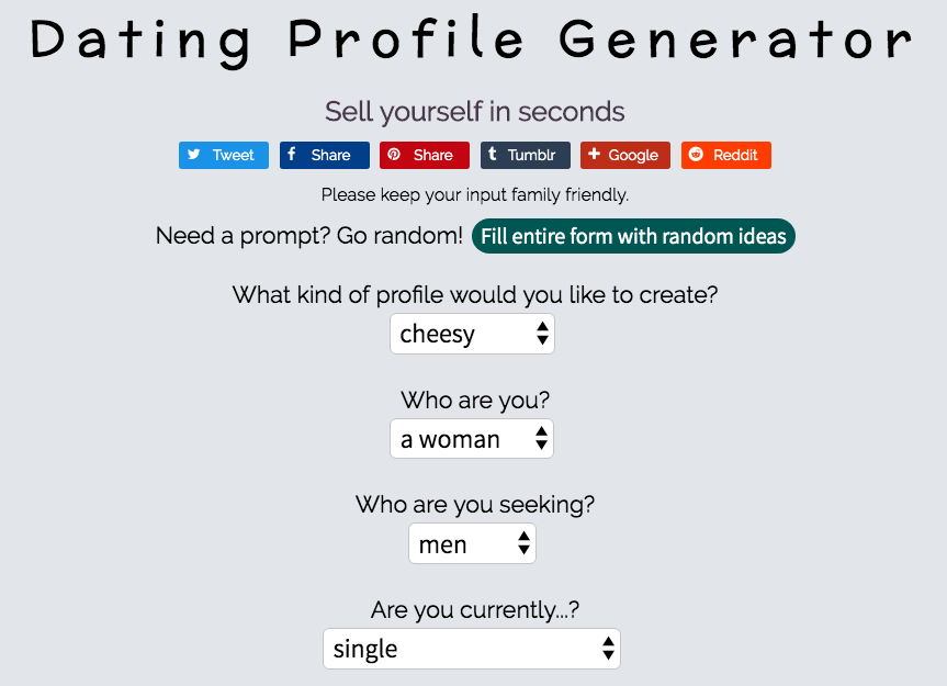 Dating Profile Generator page to fill out information