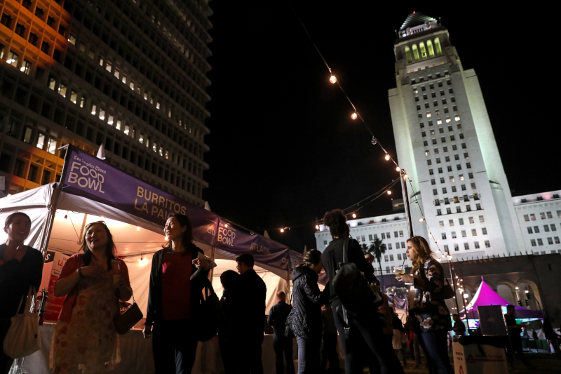 People at the Night Market in Grand Park for the L.A. Times Food Bowl