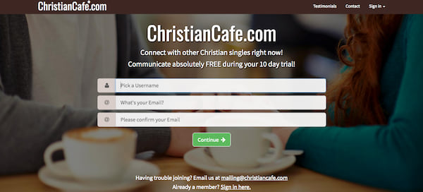 Homepage for black Christian dating site ChristianCafe.com