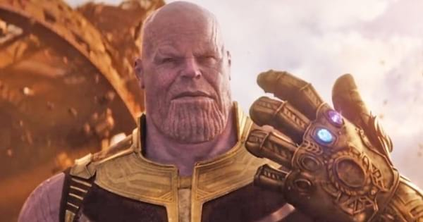 Thanos showing off his Infinity Gauntlet in Avengers: Infinity War
