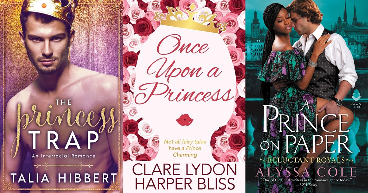 Royal Romance Novels, three book covers of romance novels with royalty, books