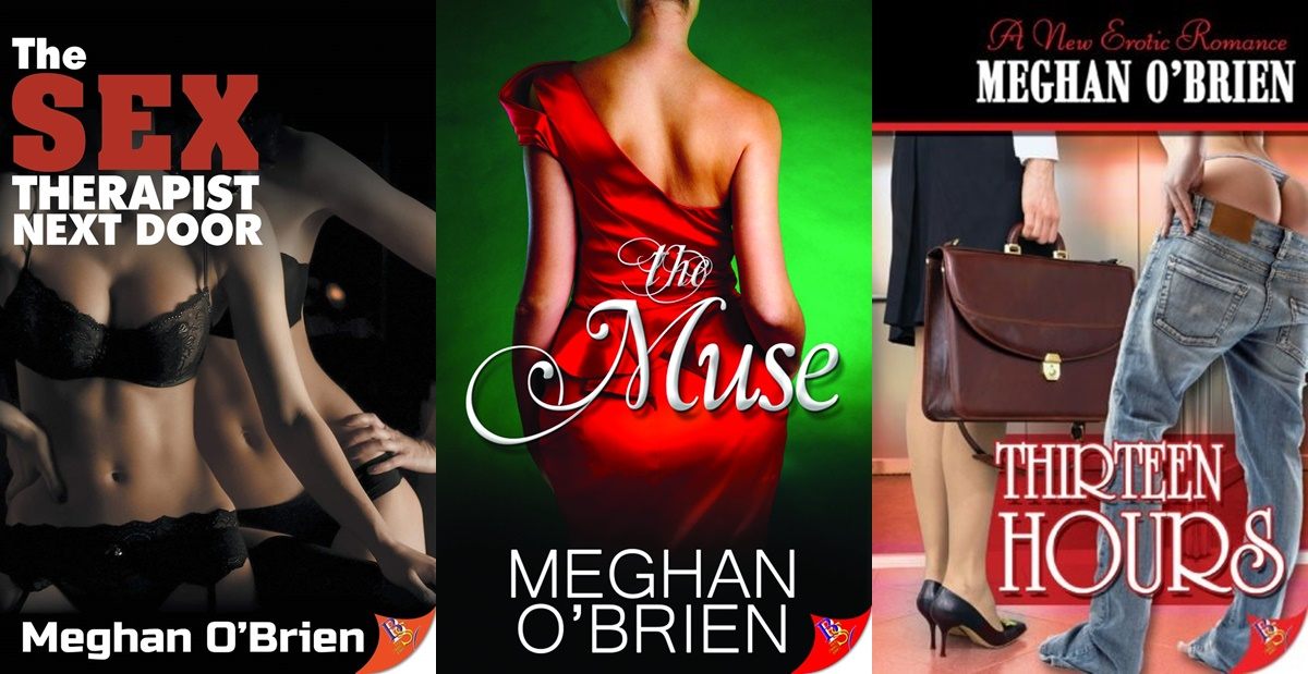 Erotica Authors, three covers of books by Meghan O'Brien, books