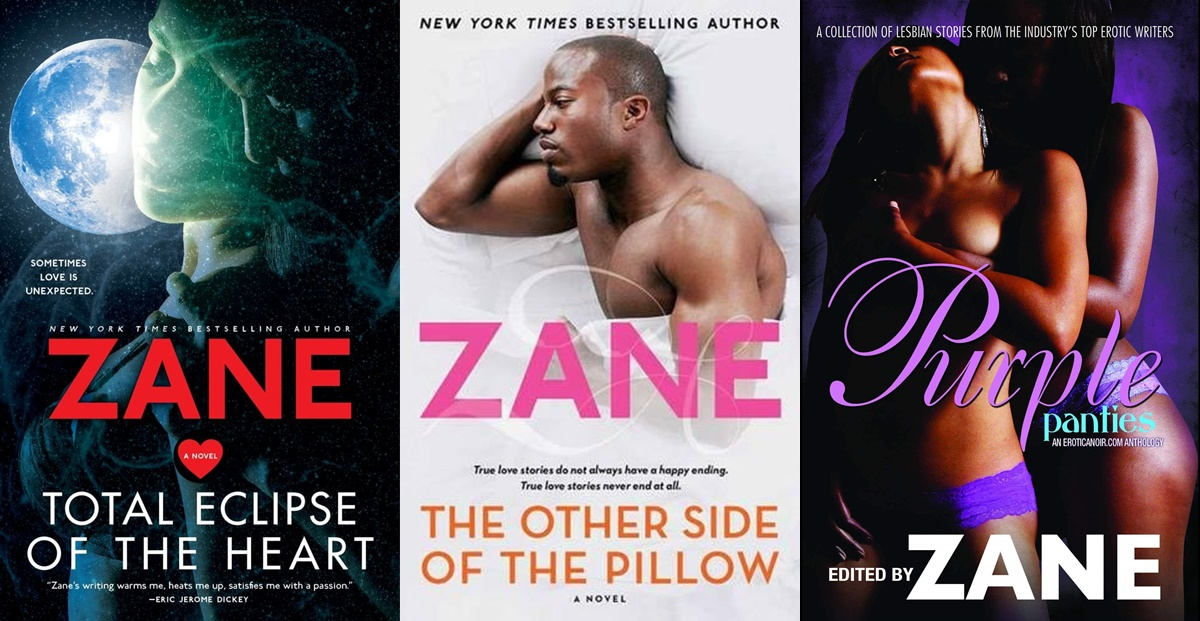 Erotica Authors, three covers of books by Zane, books