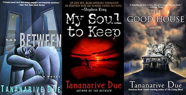 Female Horror Authors, three covers of books by Tananarive Due, books