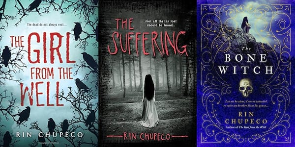 books, three covers of books by Rin Chupeco, Female Horror Authors