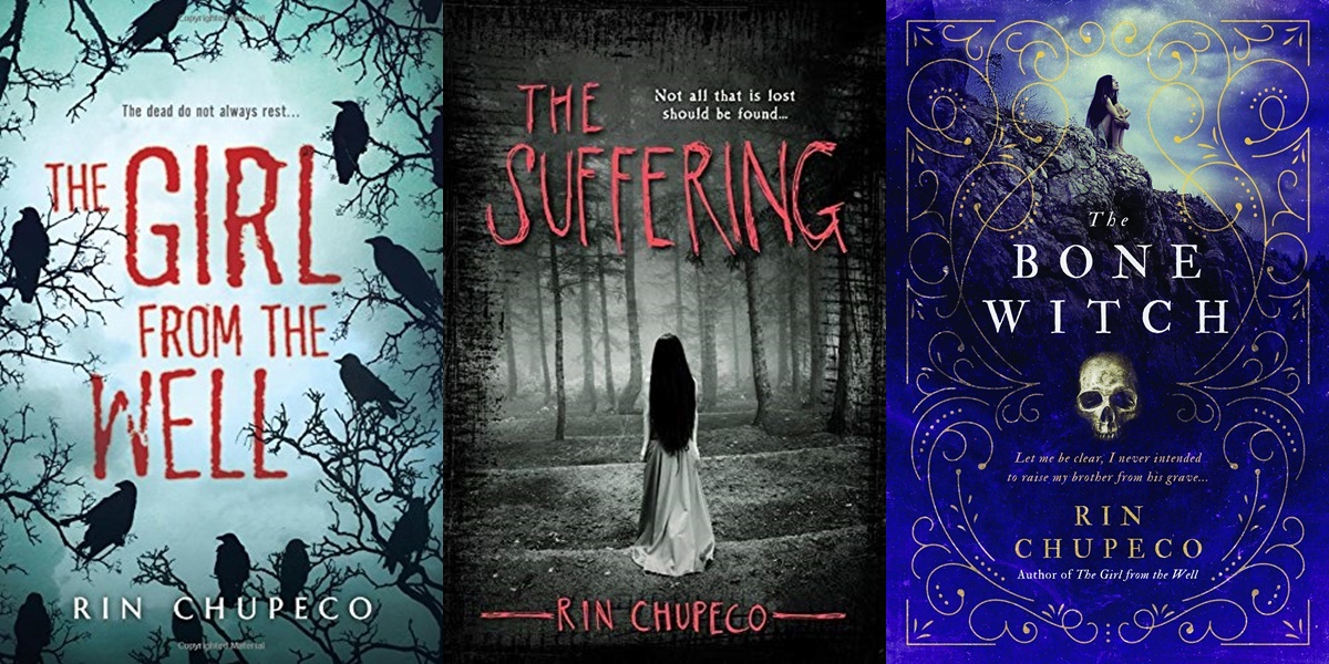 Female Horror Authors, three covers of books by Rin Chupeco, books