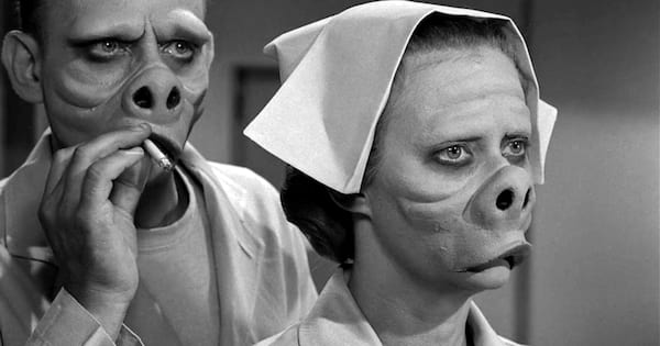 Pig looking nurse and doctor from 'Eye of the Beholder' episode of 'The Twilight Zone'
