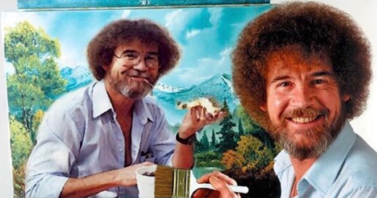 Bob Ross sitting in front of a painting of him eating pizza on a scenic mountain backdrop