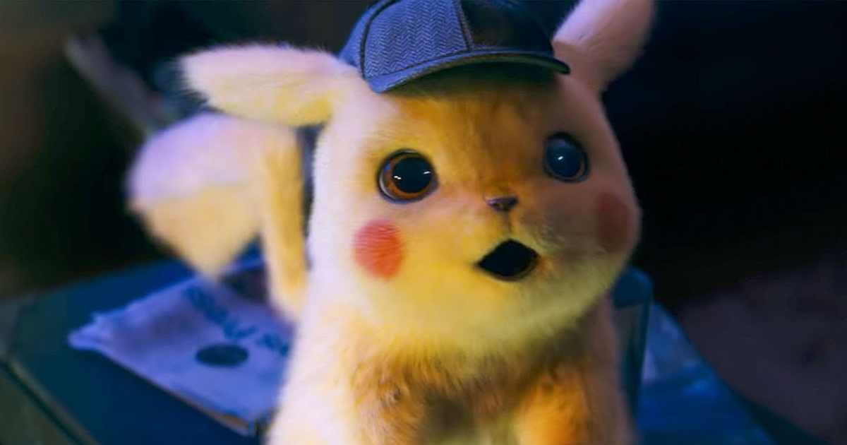 Pikachu making a shocked face in a scene from 'Pokémon Detective Pikachu'