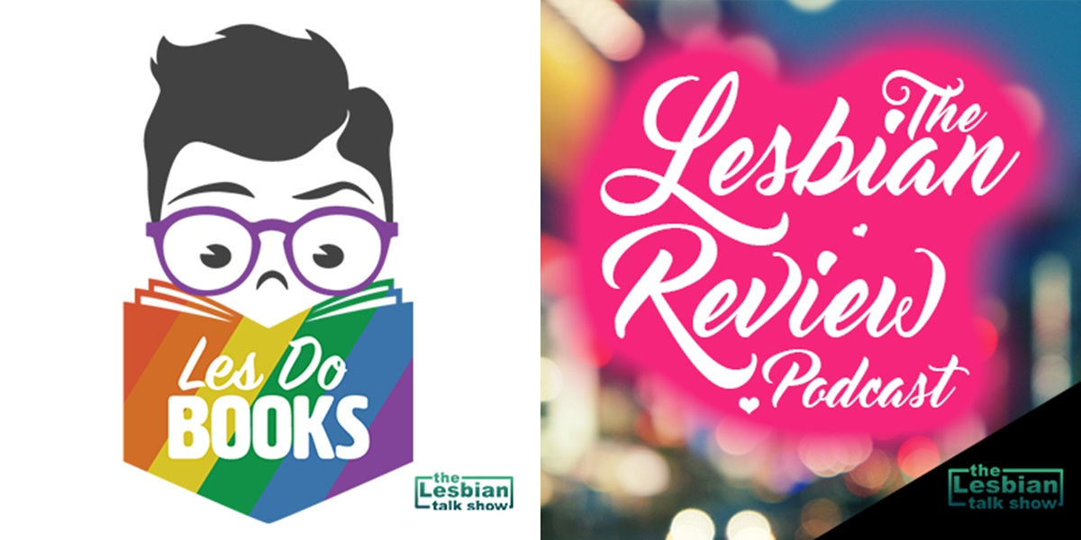 podcasts about books, logo for the lesbian review talkshow podcasts, books