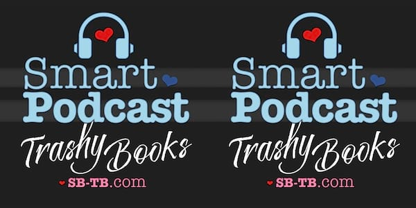 podcasts about books, logo for smart podcast trashy books, books