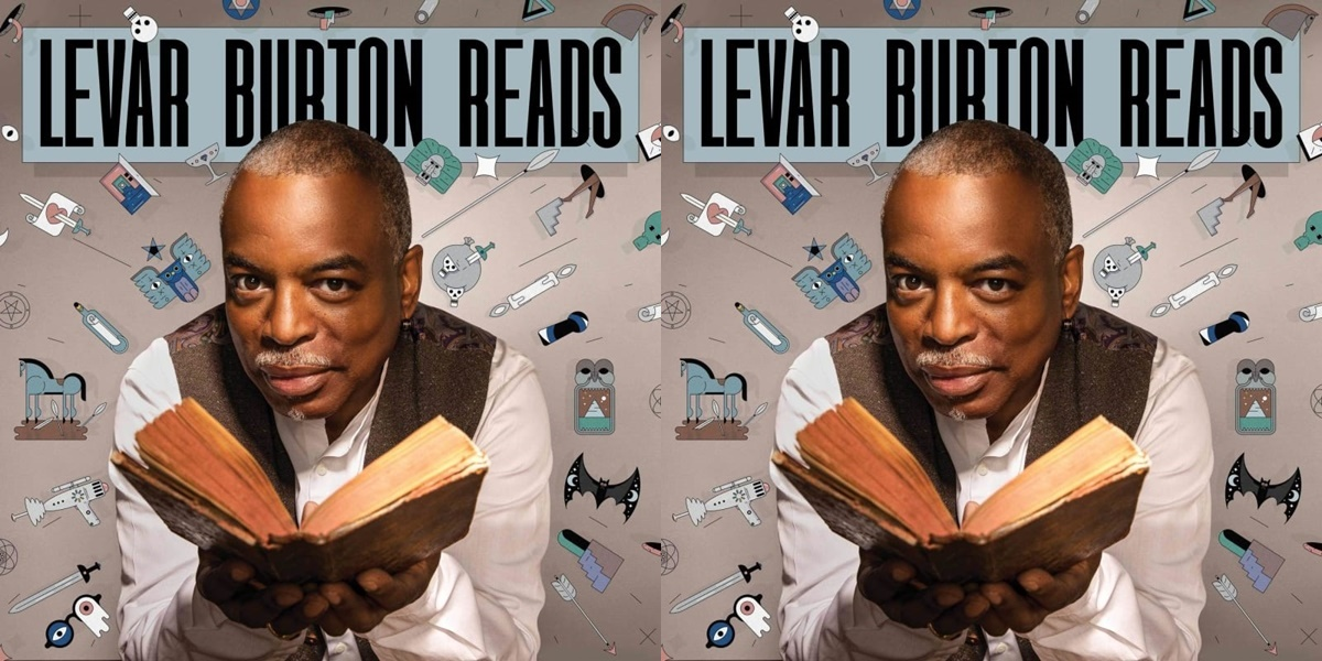 podcasts about books, logo for levar burton reads podcasts, books