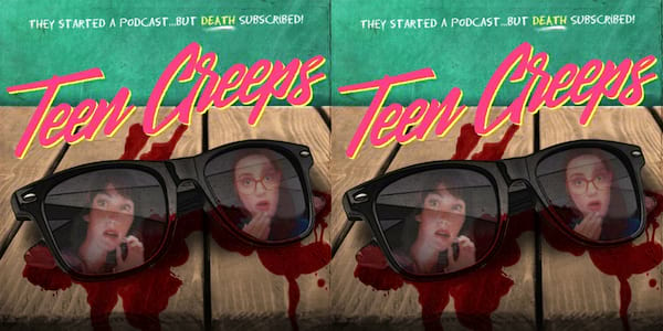 podcasts about books, the logo for the teen creeps podcast, books