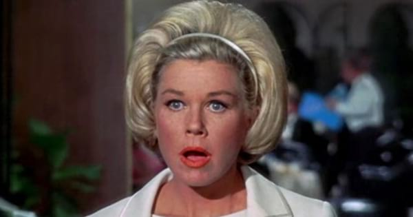 Doris Day as Judy Kimball making a shocked face in 'Send Me No Flowers'