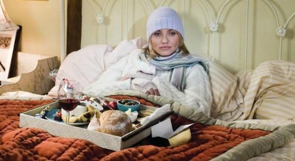 cozy and hygge, with food on a tray, Cameron Diaz in 'The Holiday' in bed