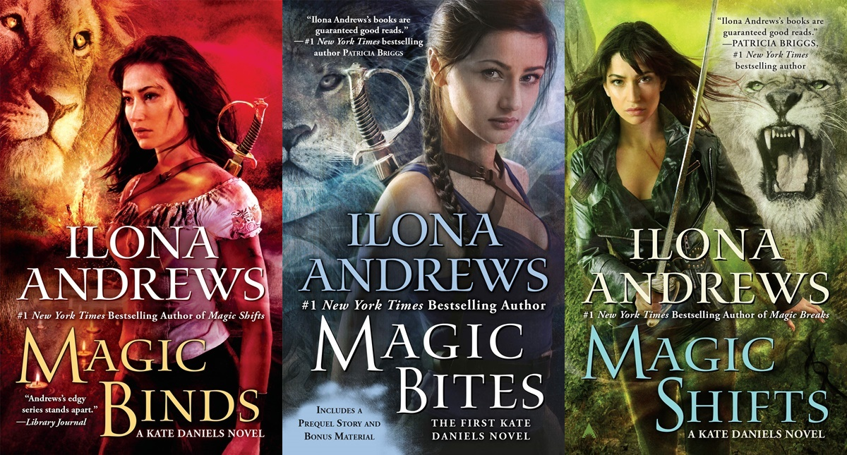 alpha heroines in romance, covers from the kate daniels series by ilona andrews, books
