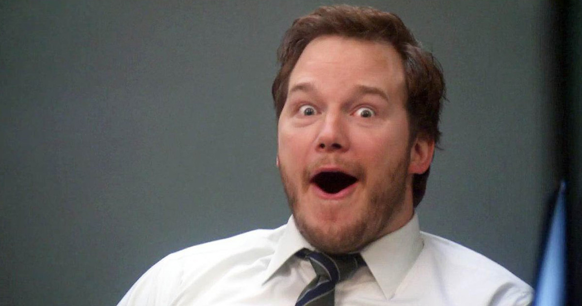 Andy Dwyer making a shocked face at the camera in 'Parks and Recreation'