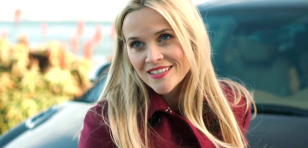 Reese Witherspoon in HBO's Big Little Lies standing in front of a car in Monterey, california