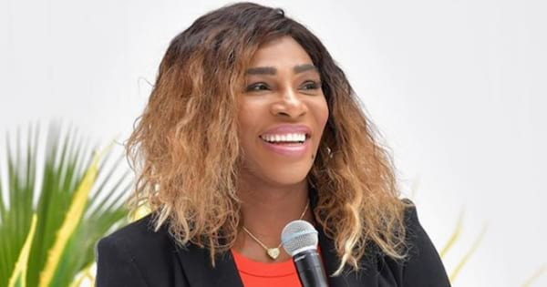 Serena Williams holding a microphone in her hand while being interviewed at BoF West