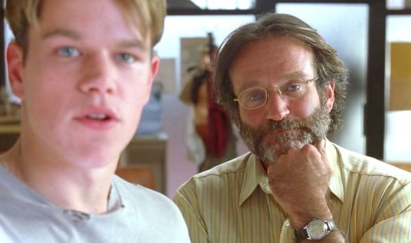 robin williams, think, thinking, Good Will Hunting, Matt Damon, hero, male, smart, engineer, quiz, school