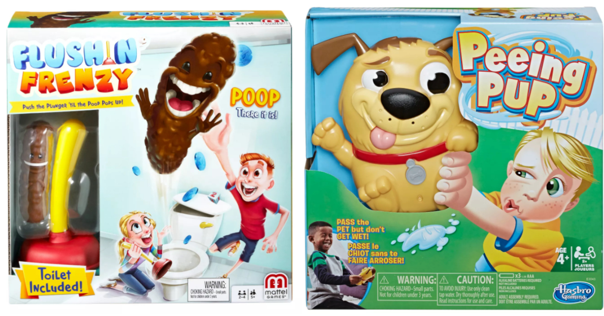 Flushin' Frenzy and Peeing Pup board games side by side