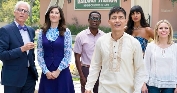 The characters in 'The Good Place' getting ready to fly off in a hot air balloon to heaven