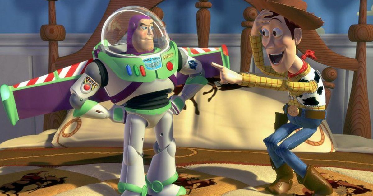 Woody looking excitedly at Buzz in 'Toy Story'