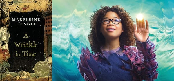 class books made into movies, book cover and movie still from a wrinkle in time, books, movies