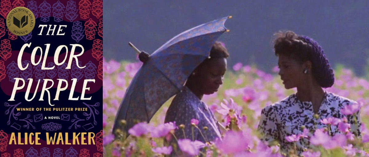 classic books made into movies, book cover and movie still from the color purple by alice walker, books, movies