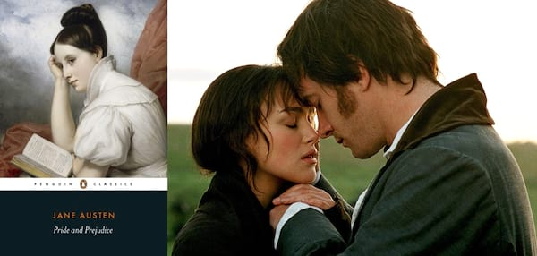 classic books made into movies, book cover and movie still from pride and prejudice, books, movies