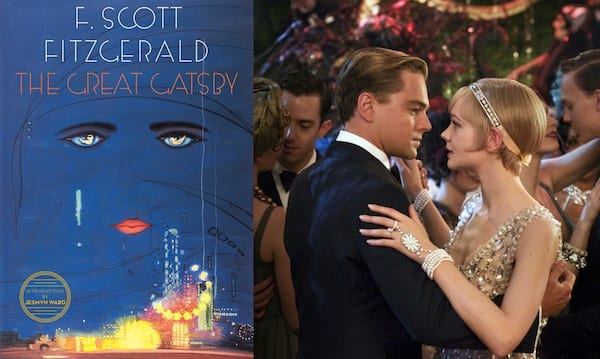 classic books made into movies, book cover and movie still from the great gatsby, books, movies