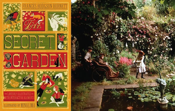 classic books made into movies, book cover and movie stills from the secret garden, movies, books