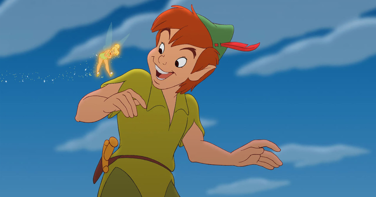 Peter Pan smiling at Tinker Bell who's laughing in 'Return to Neverland'