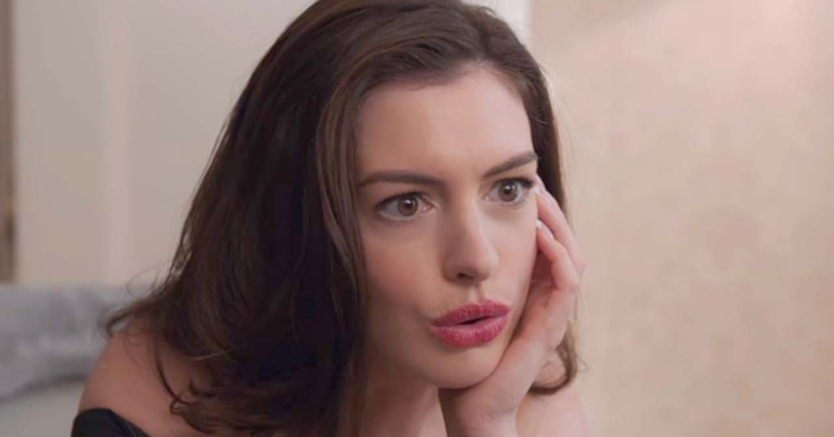 Anne Hathaway making a shocked face in Ocean's 8