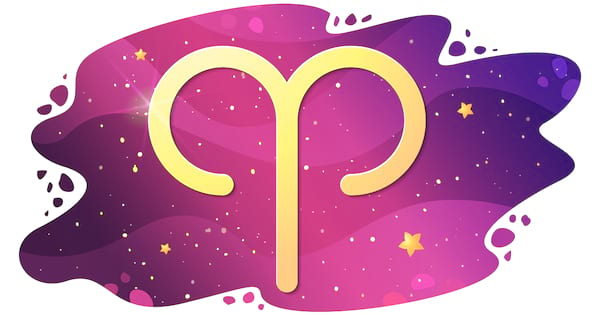Sign of the zodiac of Aries, astrological horoscope, predictions for the new year, symbol on stary magic sky background. Vector illustration