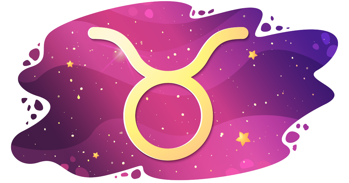 Sign of the zodiac of Taurus, astrological horoscope, predictions for the new year, symbol on starry magic sky background. Vector illustration