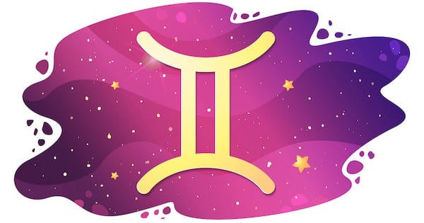Sign of the zodiac of Gemini, astrological horoscope, predictions for the new year, symbol on starry magic sky background. Vector illustration