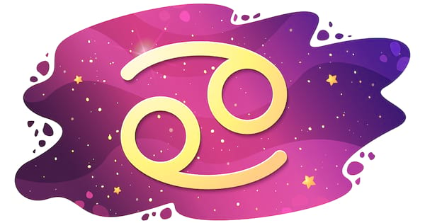 Sign of the zodiac of Cancer, astrological horoscope, predictions for the new year, symbol on starry magic sky background. Vector illustration
