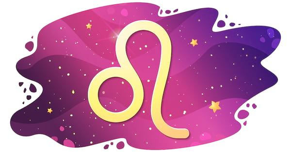 Sign of the zodiac of Leo, astrological horoscope, predictions for the new year, symbol on starry magic sky background. Vector illustration